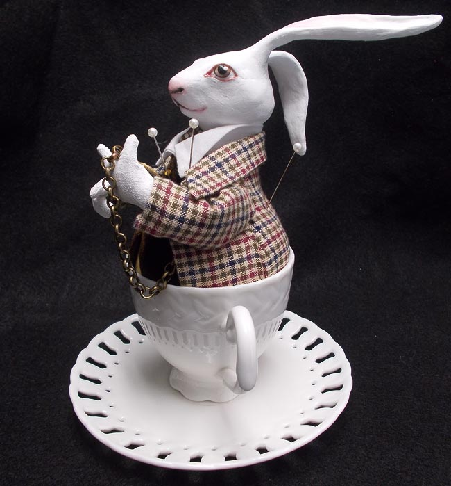 White Rabbit Pin Cushion Doll in Teacup